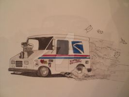 US postal service truck hot rod drawing by prestonthecarartist