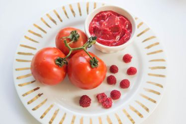 Mise en place - Raspberry and tomatoes by harleshinn