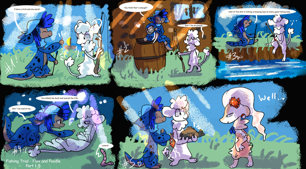 Fishing Trial - Flox and Poodle by JB-Pawstep