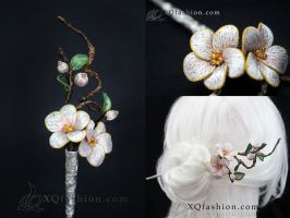 Hand Embroidery Cherry Blossom hairpin by XQFashion