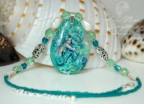 Emerald Cove Handpainted Mermaid Pendant by Mocten