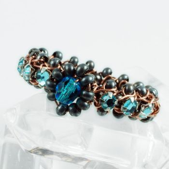 Blue, Gunmetal and Copper Ring View 1 by Gailavira