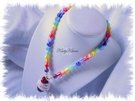 Rainbow Cupcake Necklace by Cateaclysmic
