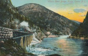 CPR Steam Locomotive Crossing Fraser Canyon, B.C. by Yesterdays-Paper