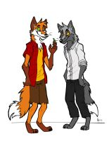 Anthropomorphic foxes by Vicnor