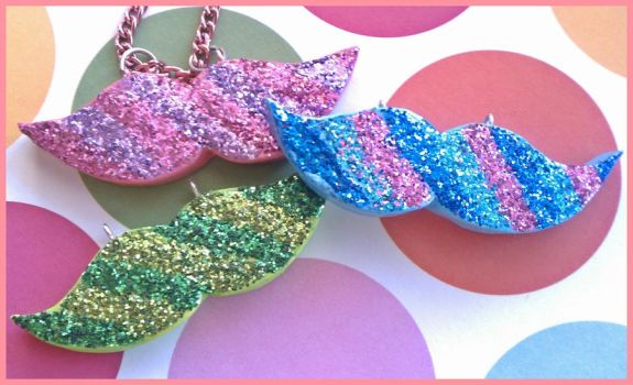 Sparkly Mustache Necklace by Sparklefiend