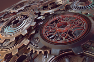 Steampunk Gears C4D Substance Painter Redshift by botshow