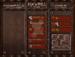 Repair Shop/Status screen in Motherload Unlimited by sethness