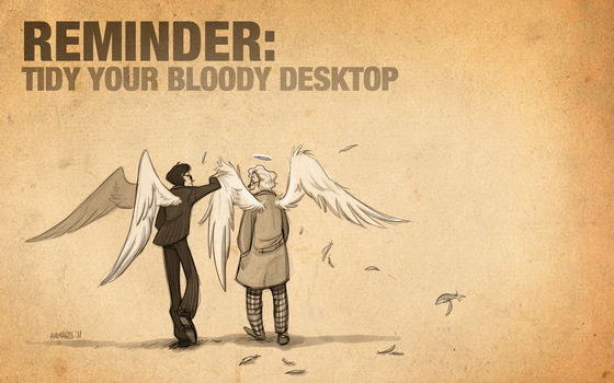 Good Omens: Tidy Your Desktop by animagess