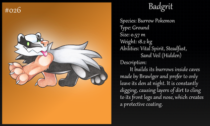 #026 Badgrit Fakemon by Angel-Moonlightwolf