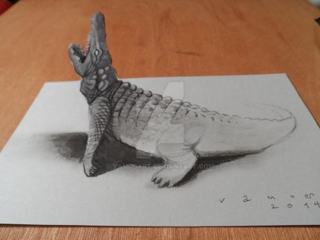 Anamorphic Crocodile, High resolution by VamosArt