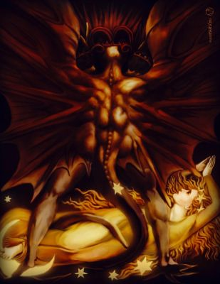 The Great Red Dragon and The Woman Clothed in Sun by osvaldoVSARTS