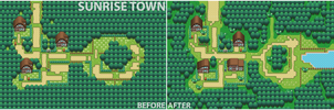 Sunrise Town Before-after by Burton-kun