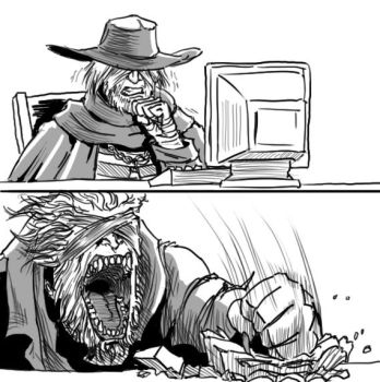 Bloodborne: Father Gascoigne browses the web by MenasLG