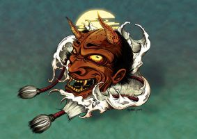 oni mask in colour by leperism