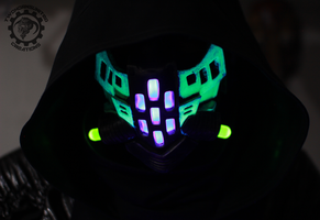The Ravager Cyberpunk UV reactive LED mask by TwoHornsUnited