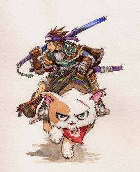 Watercolor Kitty rider by UchidaB