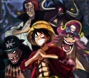 One Piece Luffy Big Mom Shanks Kaido Teach Yonko by Amanomoon