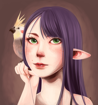 Elf and her Bird by MelynnRose