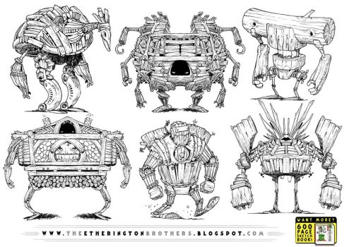 6 WOODEN ROBOT CONCEPTS by STUDIOBLINKTWICE