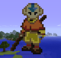 Minecraft Aang Statue by myvideogameworld