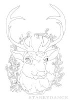 Autumn Stag Coloring Page by Starrydance