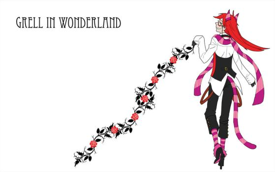 Grell In Wonderland with Roses by MelissasFanArt