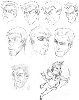 Male Head Sketches by mackie85