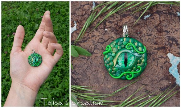 Eye of Grass Dragon Pendant by Taisa-Winged