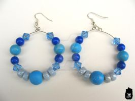 Hint of Gold Blue Beaded Earrings by TheFuzzyPineapple