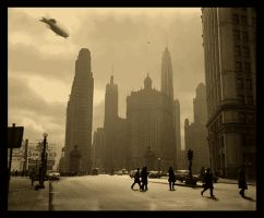 Zeppelin Over Chicago. by The-Necromancer