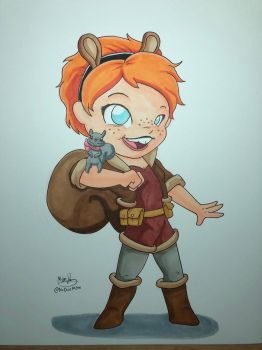 Squirrel Girl (original for sale) by NoDiceMike