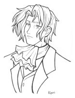 Magical-hair Edgeworth - line by HolliGenet