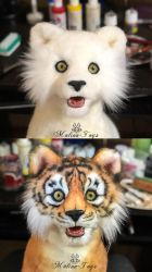 Work process: a tiger cub with opening jaw by MalinaToys