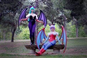 Lilith and Morrigan by NunnallyLol