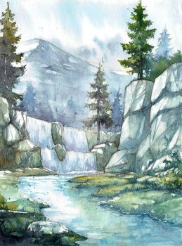 Mountaing landscape watercolour by gaciu000