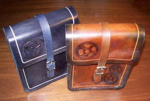 Steampunk Leather Belt Pouches by Steampunked-Out