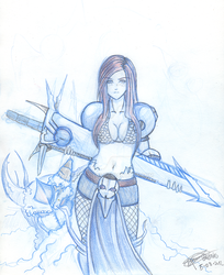 Sketch Female Warrior by Oretnas