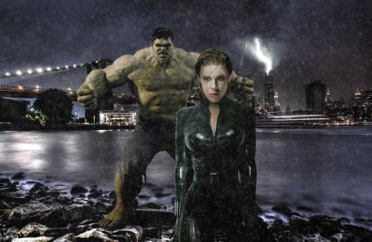 Black Widow and Hulk by headswapharry2