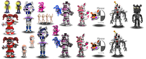 Fnaf SL Canon Characters (Shaded and Unshaded) by Educraft