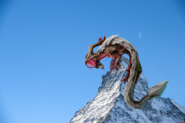 Dragon on Mountain Day by IsellaHowler