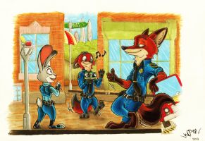 On patrol together, Zootopia by WhisperingPhantom101