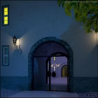 Gate in the night by gravier25