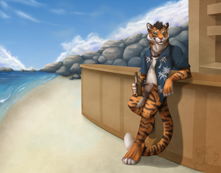 Commission: Merlin at the Beach Bar by Roukara