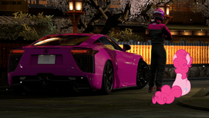 Pinkie Pie and her LFA with her co-tame driver 3 by nestordc