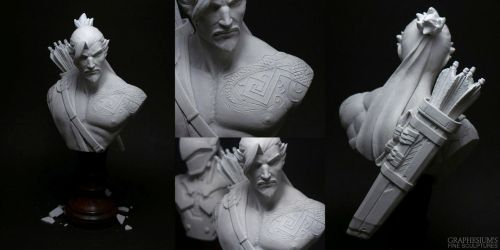 Hanzo (Overwatch) Sculpture - Bust by Graphesium