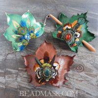 Ornate Leather Hair Slides by Beadmask