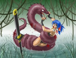 Commission - Mikka vs Serpent by RoninDude