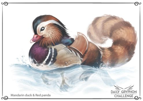 Gryphon Challenge 10: Mandarin duck and red panda by Pechschwinge