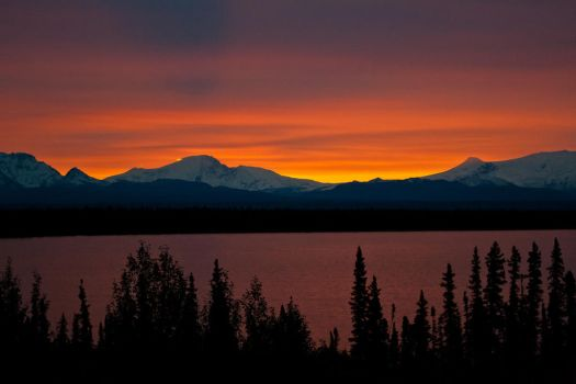 Sunrise over Willow lake and Wrangell Mountains by Line-of-Birds